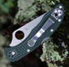 "Spyderco Delica Full Flat Grind C11FPDGR, 2.88"" CTS 204P SS Satin Plain Blade, Forest Green FRN Handle-Limited to 600"