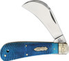 Rough Ryder Black and Blue Hawkbill, Stainless Blade , Blue Sawcut Jigged Bone Handles