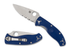 "Spyderco Tenacious Lightweight Blue C122PSBL, 3.39"" CPM S35VN  Satin Part Serrated Blade, FRN Handle"