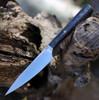 "We Knife Yakula 2013A, 4.39"" CPM S35VN Satin Plain Blade, Blue/Black Carbon Fiber With 6AL4V Titanium Bolster Handle"
