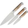 Ferrum Estate 3pc Kitchen Set, American Steel Full Tang Blades, Maple Wood Handles