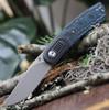 """Kansept Knives K2025A3 Lundquist Reverie, 2.92"""" S35VN Satin Plain Blade, Arctic Storm Carbon Fiber Handle w/ Titanium Bolster"""