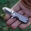 "WESN Goods Microblade Folding Knife, 1.50"" AUS-8 Satin Plain Blade, Black Titanium Handle"