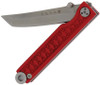 "StatGear Pocket Samurai Folding Knife STAT106, 2.1"" 44OC Satin Plain Blade, Red Aluminum Handle"