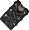 EOS 3.0 HEX Titanium Wallet EOS083, Black Aluminum Laser Etched Triangle Pattern, Silver Anodized Hardware
