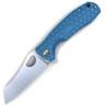 "Honey Badger Knives Medium D2 Warncleaver Flipper HB1164, 3.19"" D2 Satin Warncleaver Plain Blade, Blue FRN Handle (Silver Clip, Silver Backspacer)"