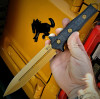 "Heretic Knives Nephilim Fixed Blade (H003-9A-CF) - 6.5"" Elmax Tri-Nitride Double Edge Dagger, Carbon Fiber Handle, Black Kydex Sheath"