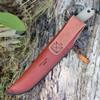 ESEE 6HM, Black Plain Edge, Modified Canvas Handles, Brown Leather Sheath