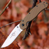 "Ontario 8828CB Rat II Folder, 3"" D2 Plain Blade, Coyote Brown Nylon Handle"