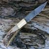 "Damascus 1168 Lockback, 3.25"" Damascus Plain Blade, Stag Bone Handle"