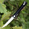 "Artisan S Waistline ATZ1805PBKC, 3.94"" D2 Plain Blade, Black Curved G-10 Handle"