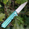 Artisan Littoral  ATZ1703GGN, 3.54 in. S35VN Plain Blade, Green Titanium Handle