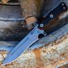 "TOPS OP7-01 Operator 7, 7.25"" 1075 Carbon Steel Acid Rain Blade, Micarta/Black G10 Handle"