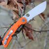"""Spyderco Subvert C239GPOR, 4.14"""" CPM S30V Plain Blade, Orange G10/Titanium Handles"""