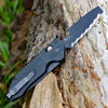 """Benchmade 365BK Outlast Axis/Option Lock Dual Blade Rescue Knife, Black 3.59"""" Blades with Black G10 Handles"""