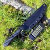 "TOPS RDSK-01TS Rapid Strike w/Top Edge Serrations, 4.13"" 154cm Tumble Plain Blade, Black G-10 Handle"