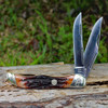 "Rough Ryder 1804 Folding Hunter, 4"" 440A SS Blade, Brown Stag Bone Handle"