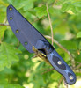 "TOPS Knives Dicer 3 Paring Knife  DCR3-01, 3.50"" CPM S35VN Plain Blade, Black Canvas Micarta/Blue-Black G10 Handle"