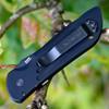 Benchmade 9501BK Mini Auto Stryker, 2.95 in. 154CM Black Tanto Plain Blade, Black Aluminum Handles