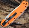 """Ontario RAT Model 1 Folder, 3.5"""" D2 Blade Steel, Orange Handle"""