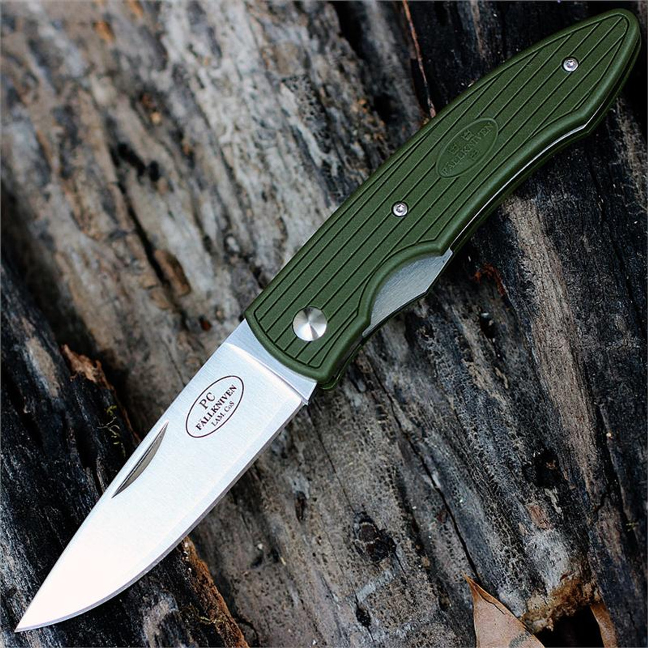 "Fallkniven PCMG Lightweight Folder, 2.87"" Laminated Cobalt Steel with Military Green Grilon Handle"