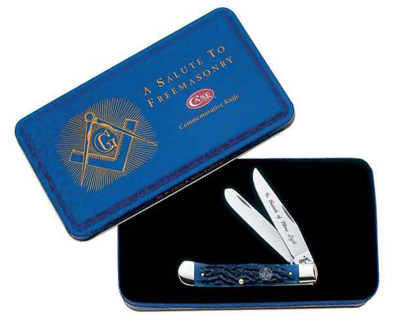 Case 1058 Masonic Trapper Gift Set, Jigged Blue Bone Handle (6254 SS)