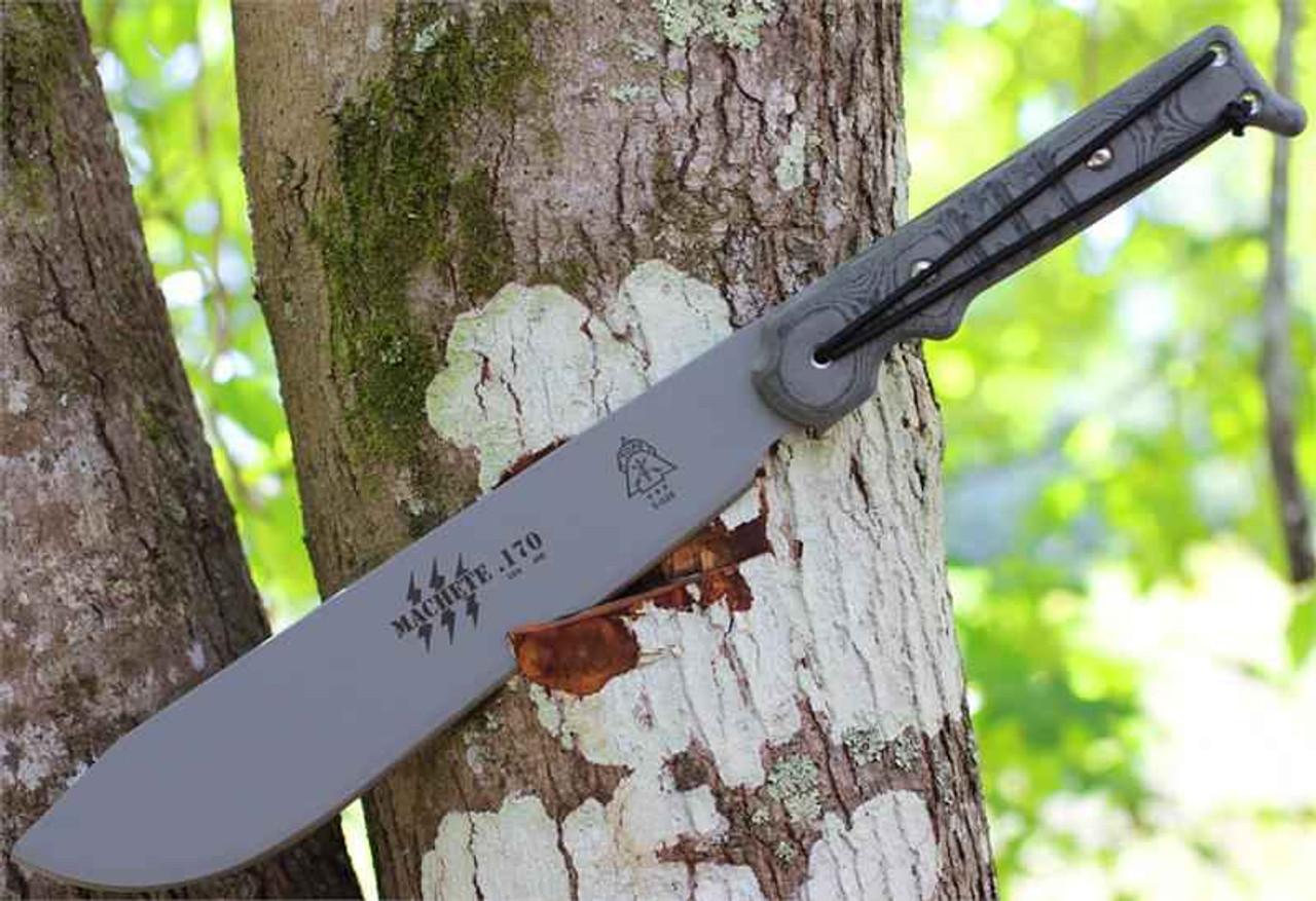TOPS Machete .170, 1095 High Carbon RC 56-58, Black Linen Micarta Handle