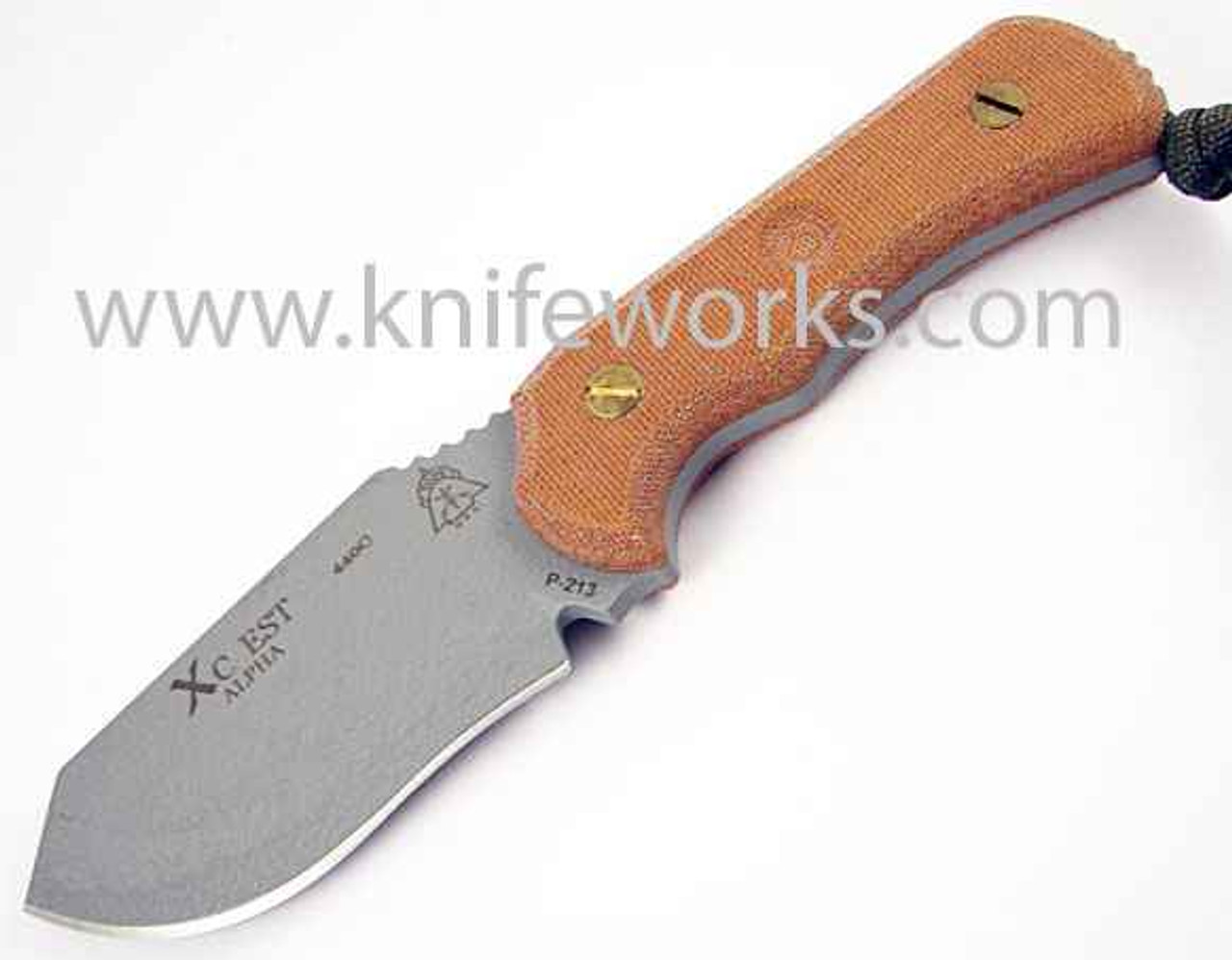 TOPS XcEST Alpha w/Coyote Tan Nylon Sheath and Survival Kit