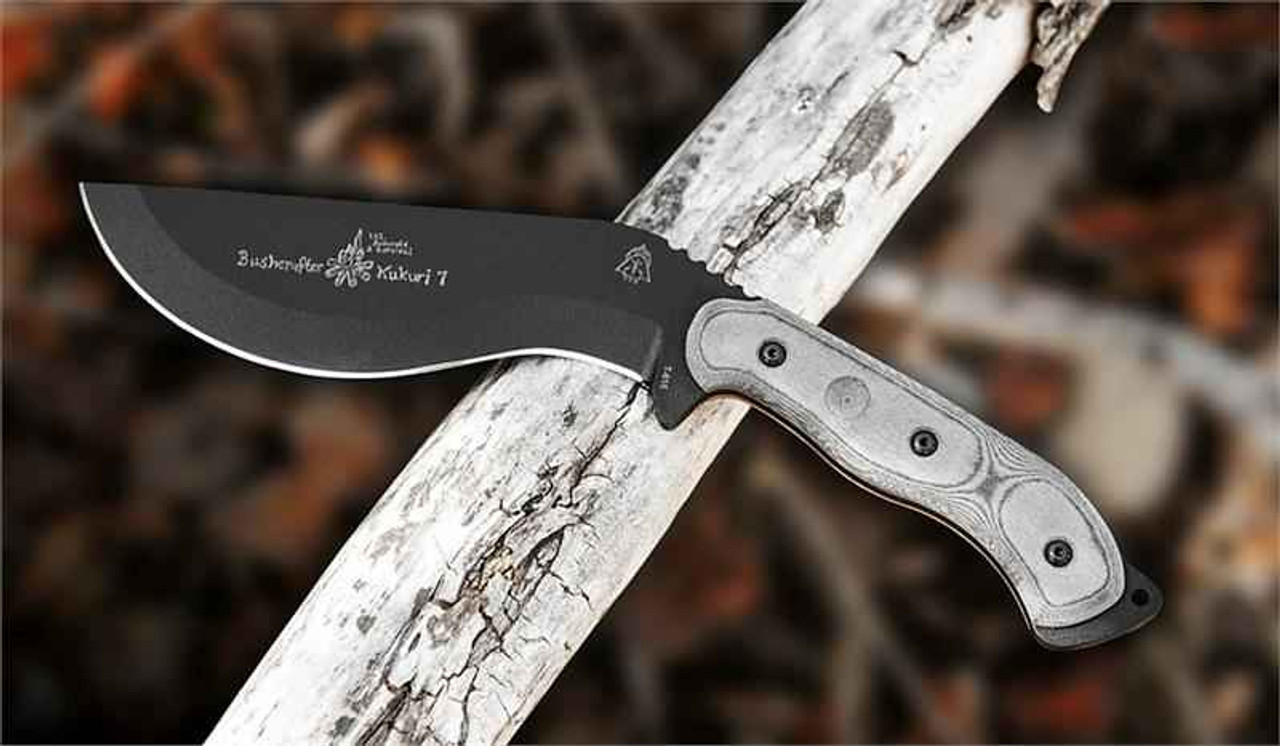 TOPS Knives Bushcrafter Kukuri 7.0, 1095 High Carbon Steel, Black Linen Micarta Handle