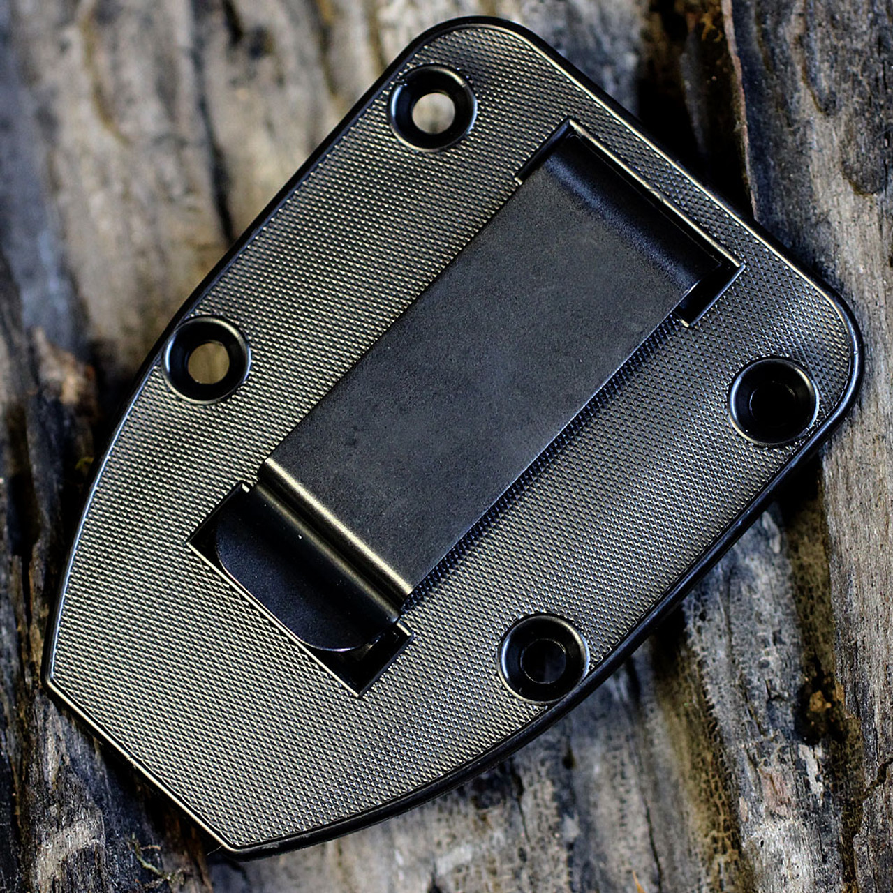 ESEE Knives, 4S-CP-TG-B, Tactical Gray Partially Serrated Edge Blade Sharpened Top, G-10 Handle, Black Molded Sheath and Clip Plate