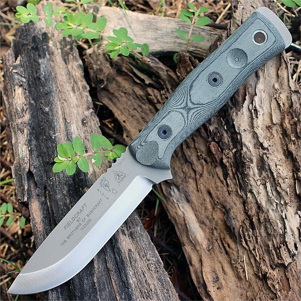 "TOPS BROS154BLM B.O.B. Fieldcraft, 4.75"" 154CM Plain Blade, Black Linen Micarta Handle-Kydex Sheath"