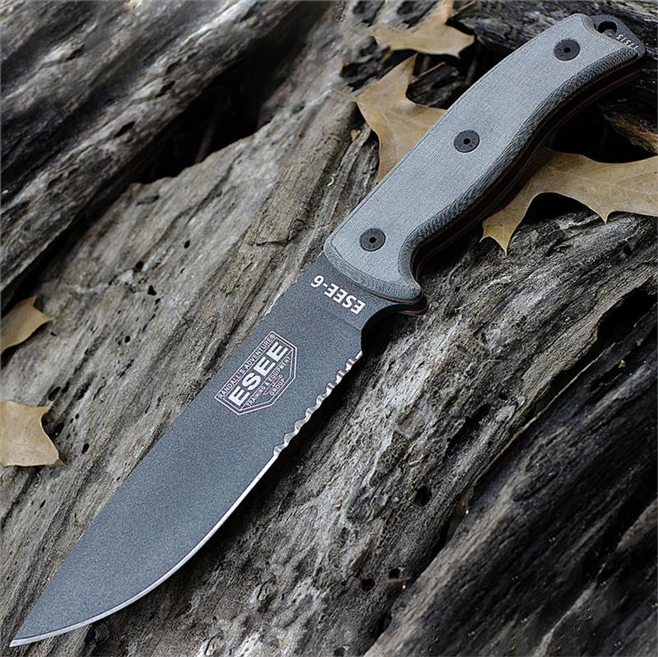 ESEE Knives, 6S-TG Tactical Gray Partially Serrated Edge, Rounded Pommel, Linen Micarta Handles, Black Molded Sheath
