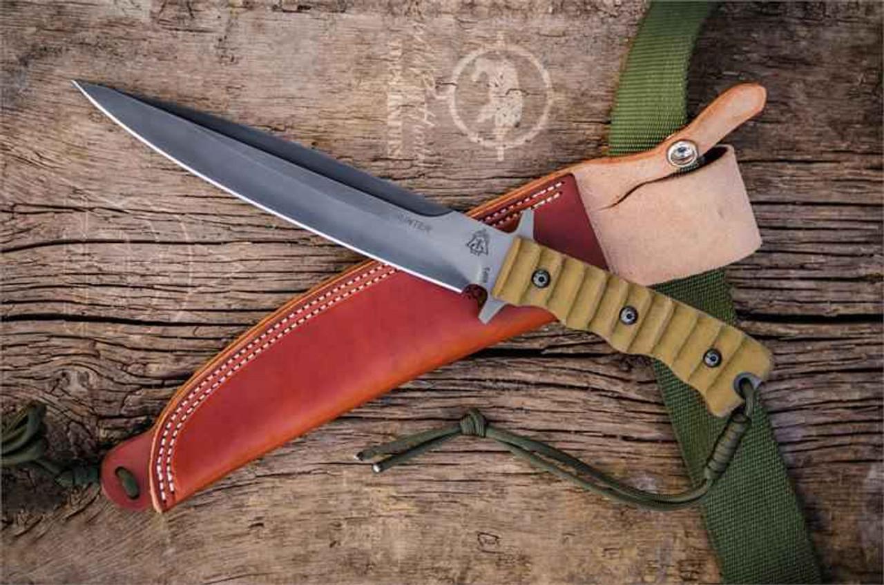 TOPS Knives Wild Pig Hunter Fixed Blade, 1095 High Carbon Steel, Green Canvas Micarta