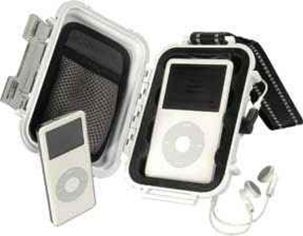 "Pelican iPod Case. White lid and body. Interior measurement 4.37"" x 2.87"" x 1.68"""