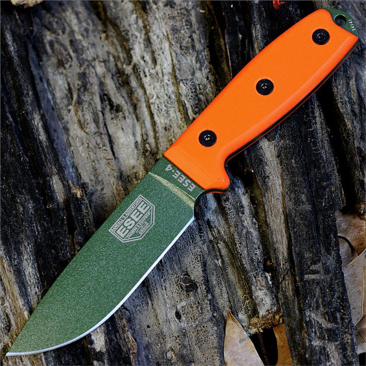 *ESEE 4P-MB-OD, Orange G-10 Handles with MOLLE Back and Clip Plate, Plain Edge