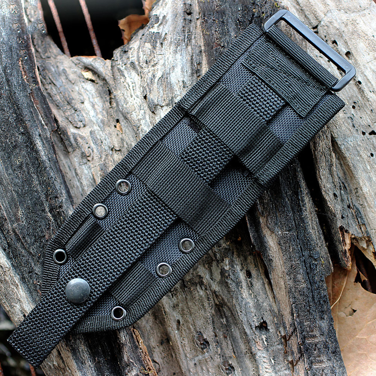 ESEE Knives, 4P-MB, Black Blade, Plain Edge, Micarta Handle, Coyote Brown Molded Sheath and Clip Plate w/ Molle Back, ESEE-4P-MB