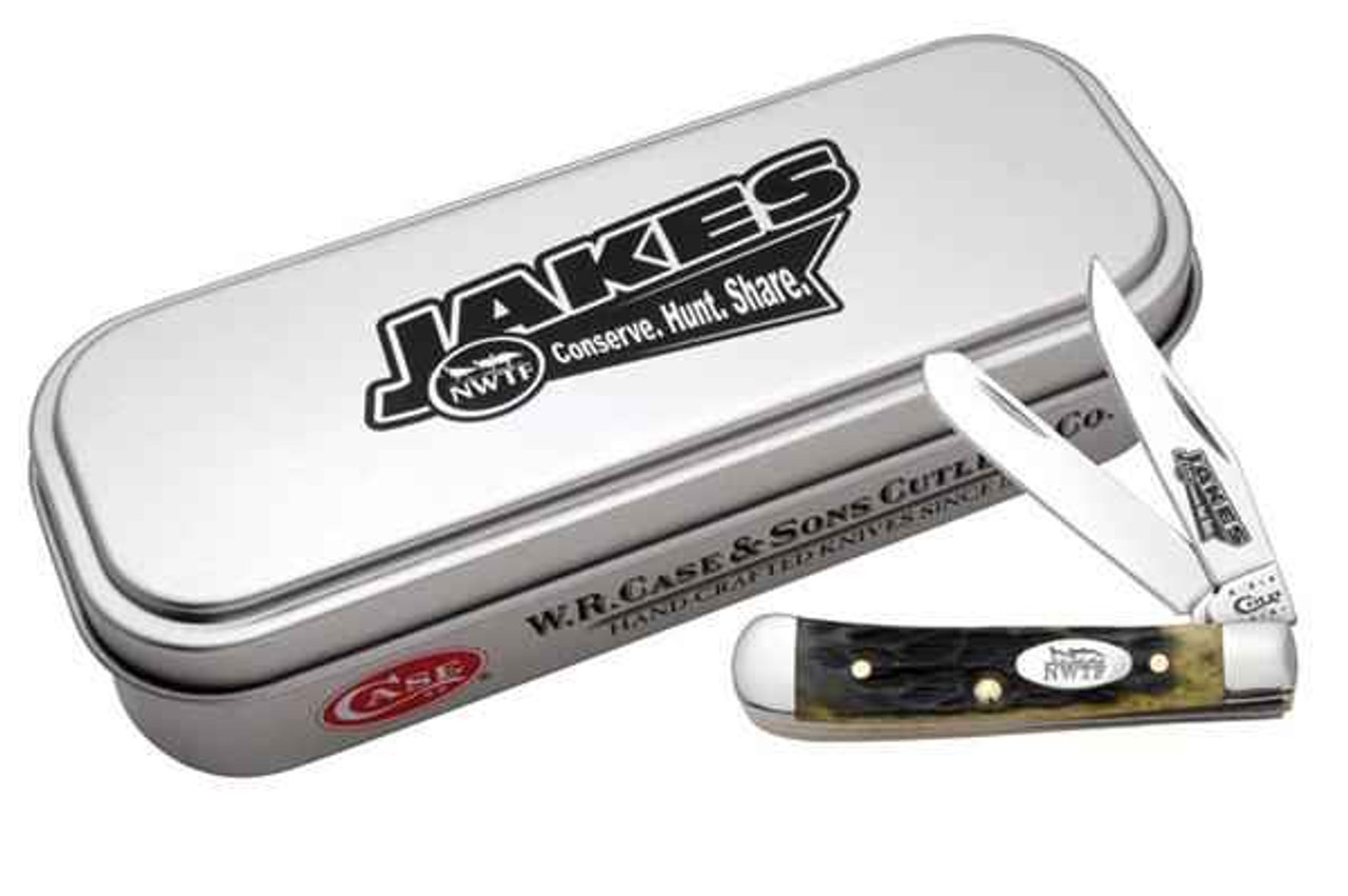 Case 8988 Tiny Trapper Jakes NWTF, Olive Green Jigged Bone, Gift Tin (62154 SS)