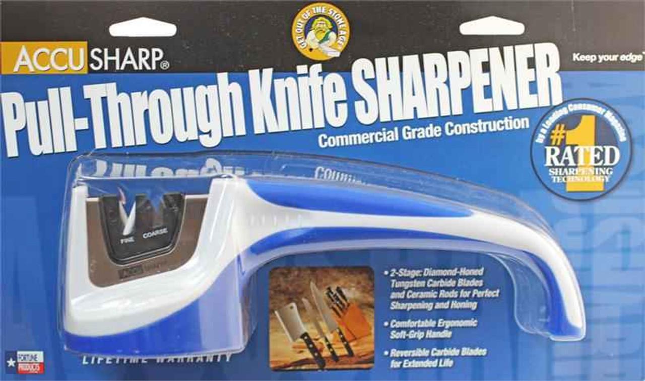 AccuSharp AS036C Pull Through Sharpener, White/Blue, Fine & Coarse