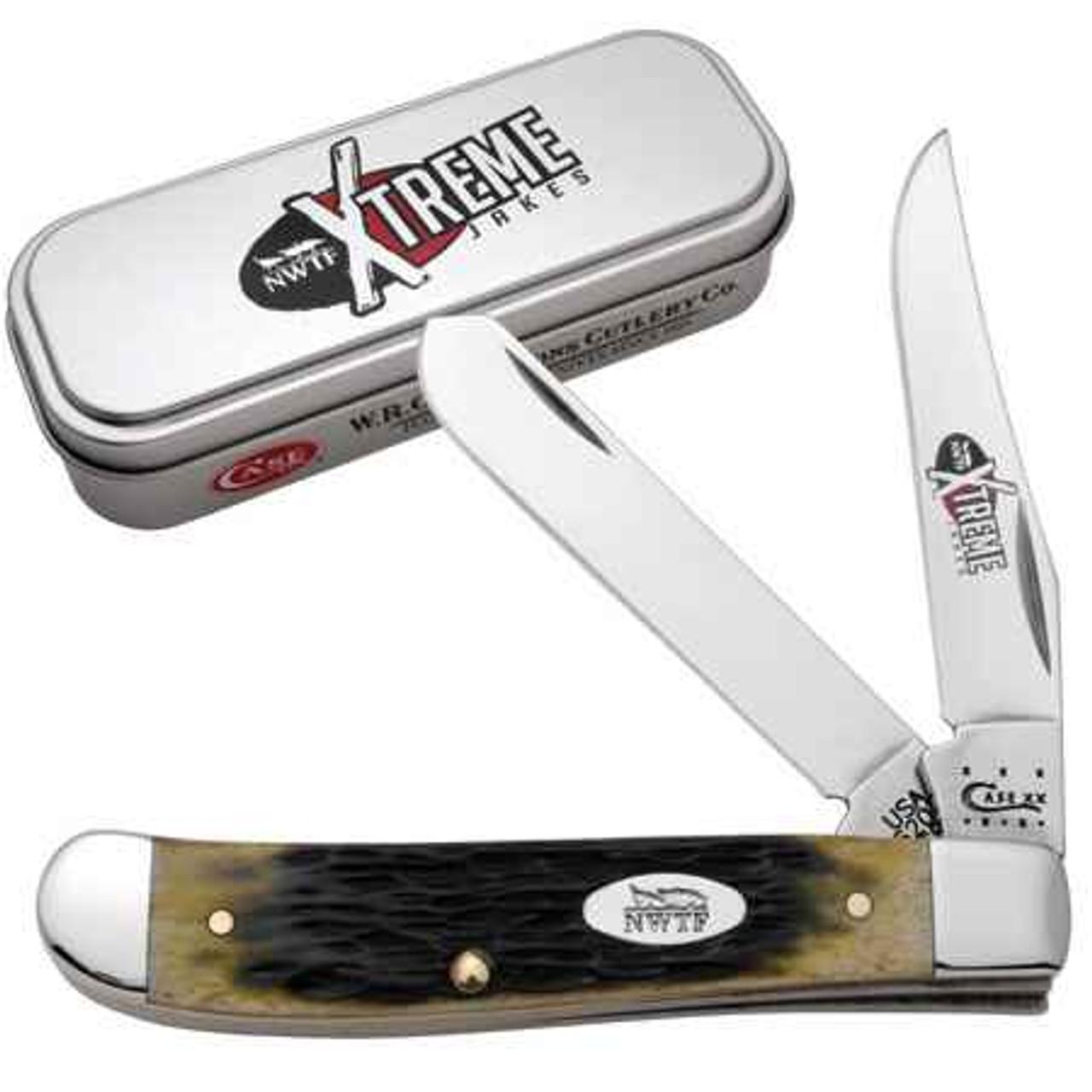 Case 8961 Mini Trapper Extreme Jakes NWTF, Olive Green Jigged Bone, Gift Tin (6207 SS)