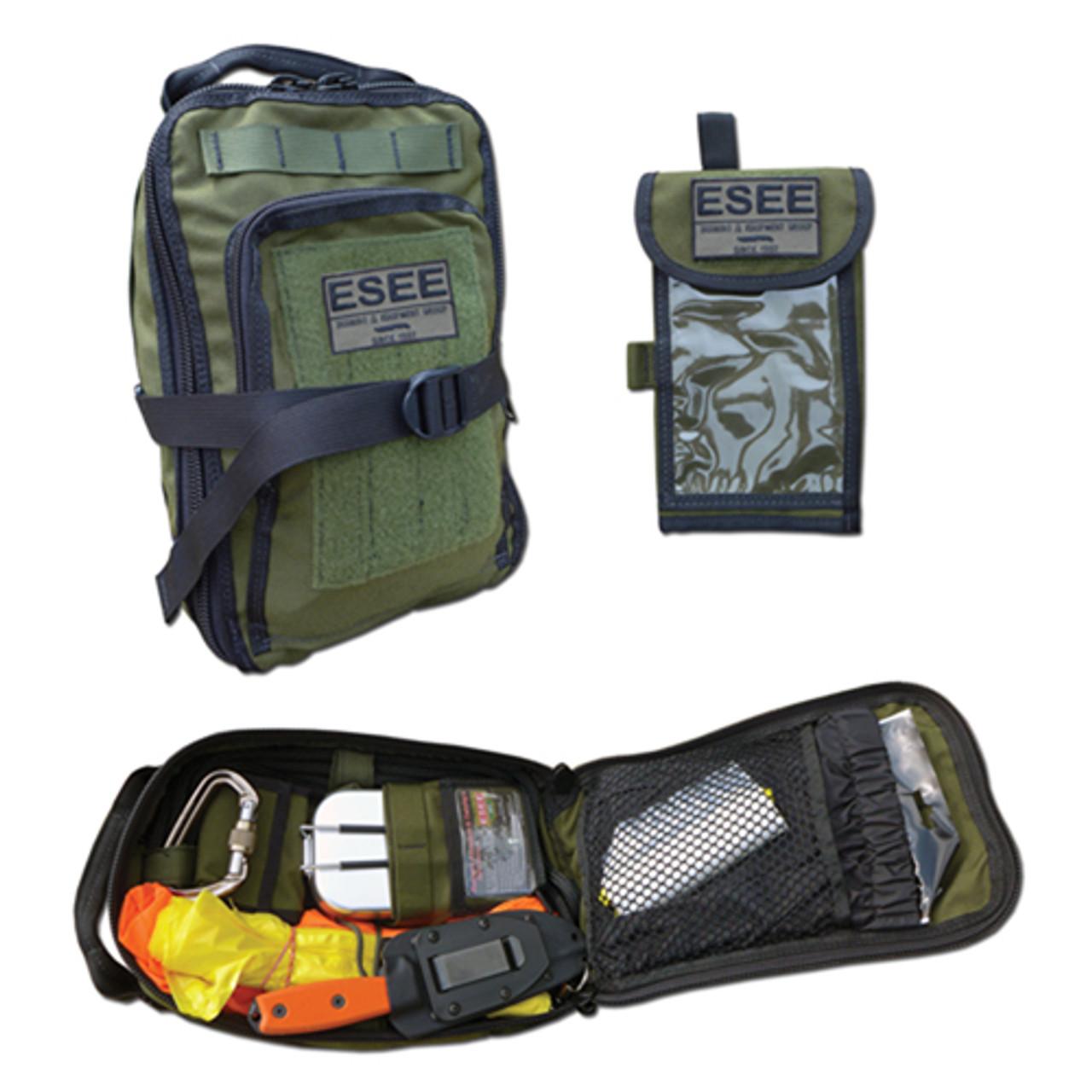 ESEE Advanced Survival Kit, OD Green Cordura Bag, Map Case, w/ ESEE 4P Black Blade, Orange G10 Handle
