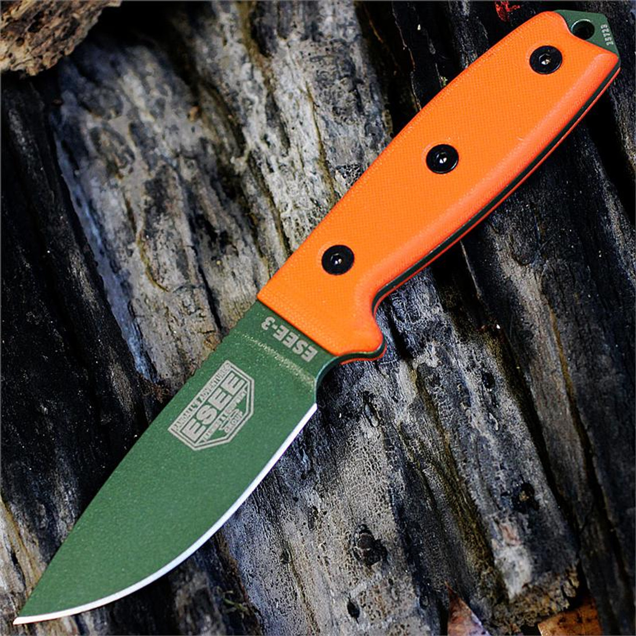 ESEE 3P-MB-OD, Plain Edge,Orange G-10 Handles, Black Sheath with Molle Back