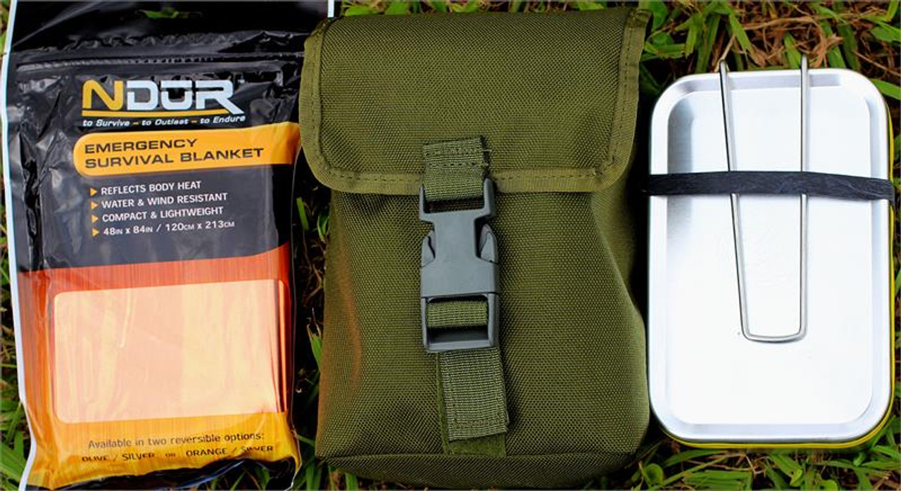 ESEE Knives LARGE-TIN-KIT-OD Survival Kit in Mess Tin w/ OD Green Pouch and Survival Blanket