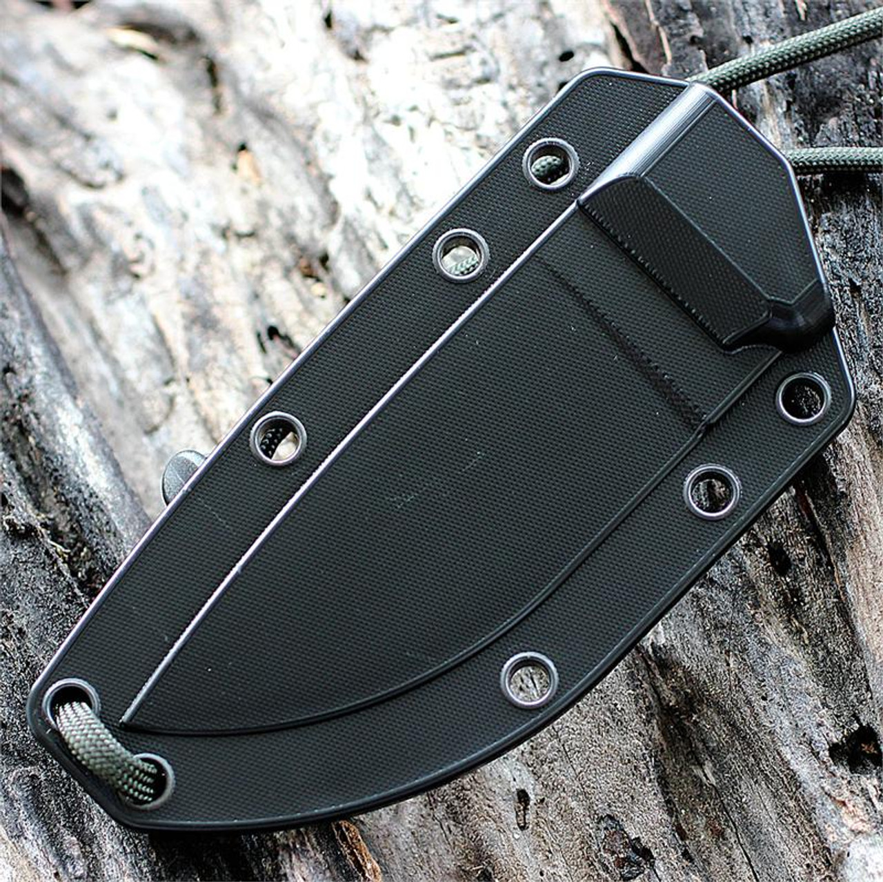 ESEE Knives, 3P-TG-B Tactical Gray Plain Edge with Black G-10 Handles and Molded Sheath