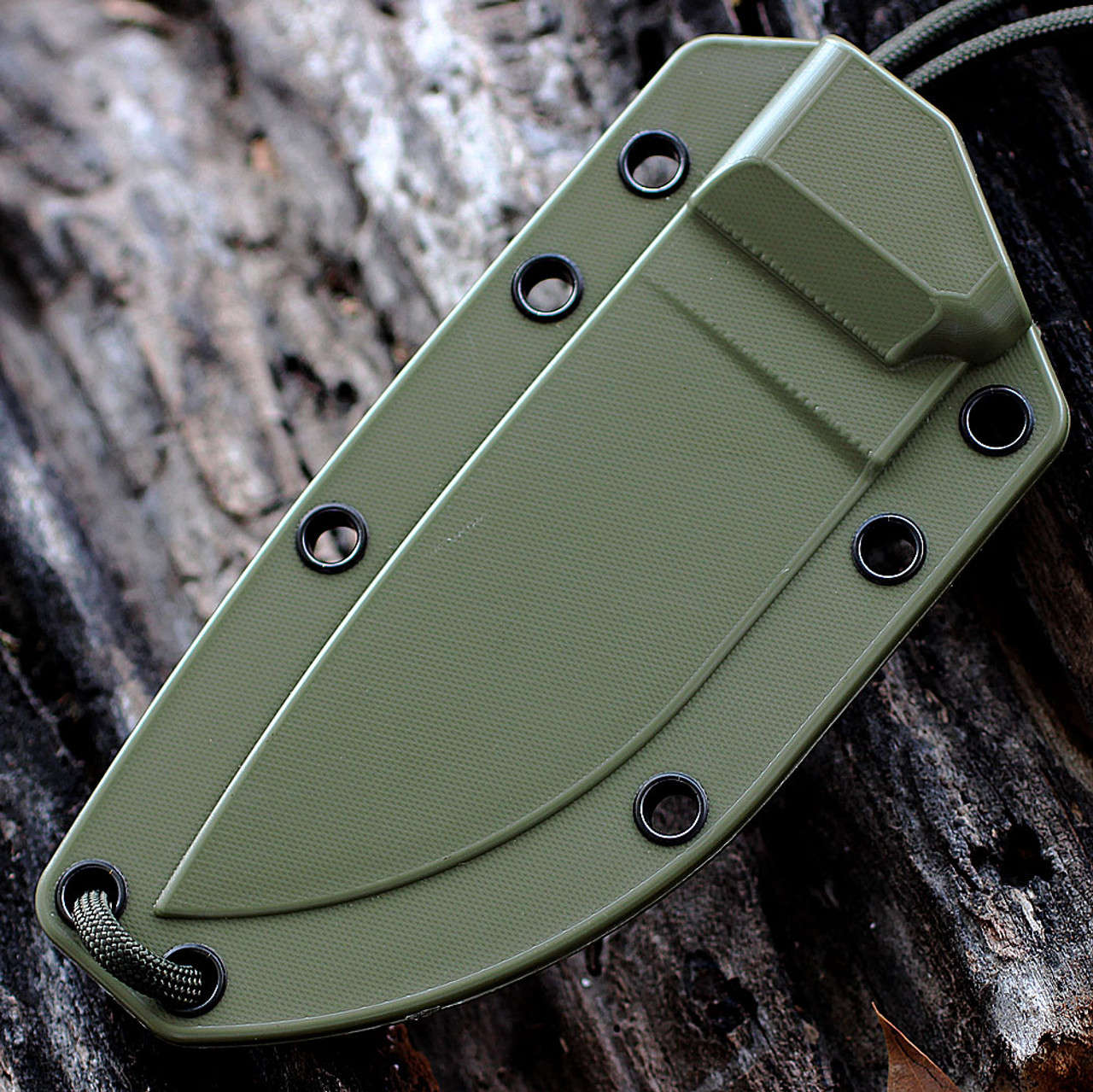 ESEE 3P-MB-DT, Plain Edge,Foliage Green Molded Sheath w/ Molle Back