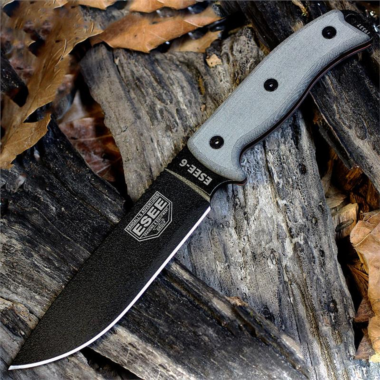 ESEE Knives, 6P-KO, Black Blade, Plain Edge, Micarta Handle, Knife Only, No Sheathing