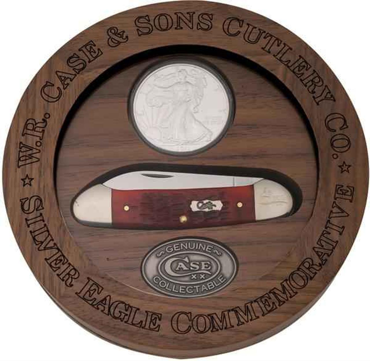 Case Canoe 6282 Dark Red Jigged Bone  Handle, 2012 Silver Eagle Coin Set (62131 SS)