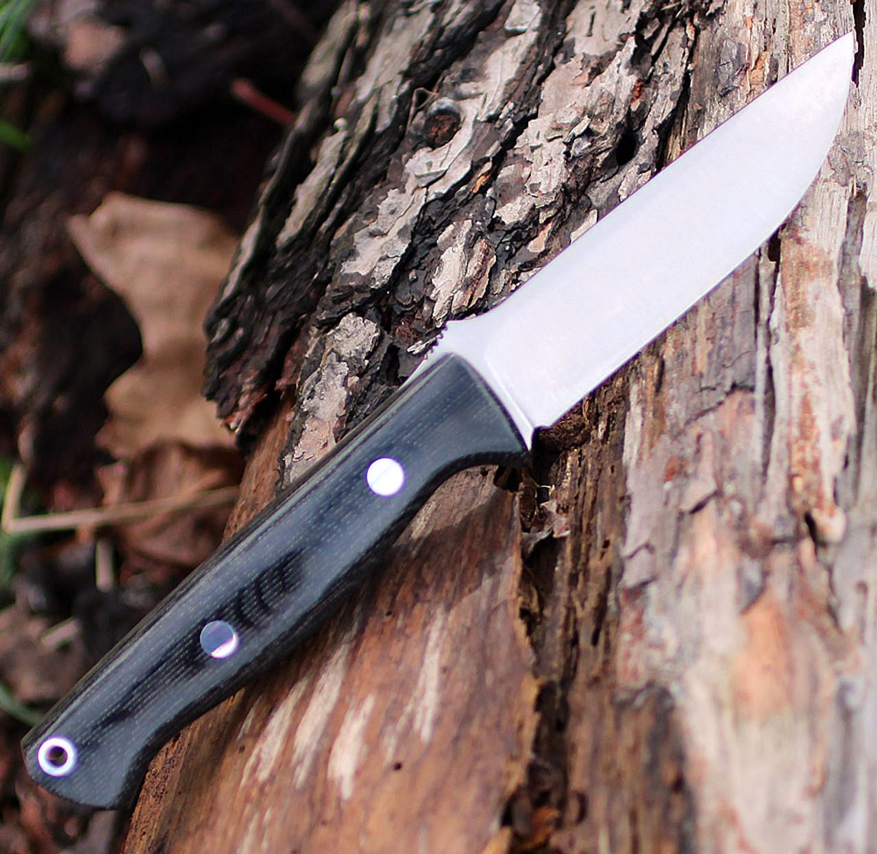 "Bark River 013MBC Gunny, 3.75"" S35VN Plain Blade, Black Canvas Micarta Handle"