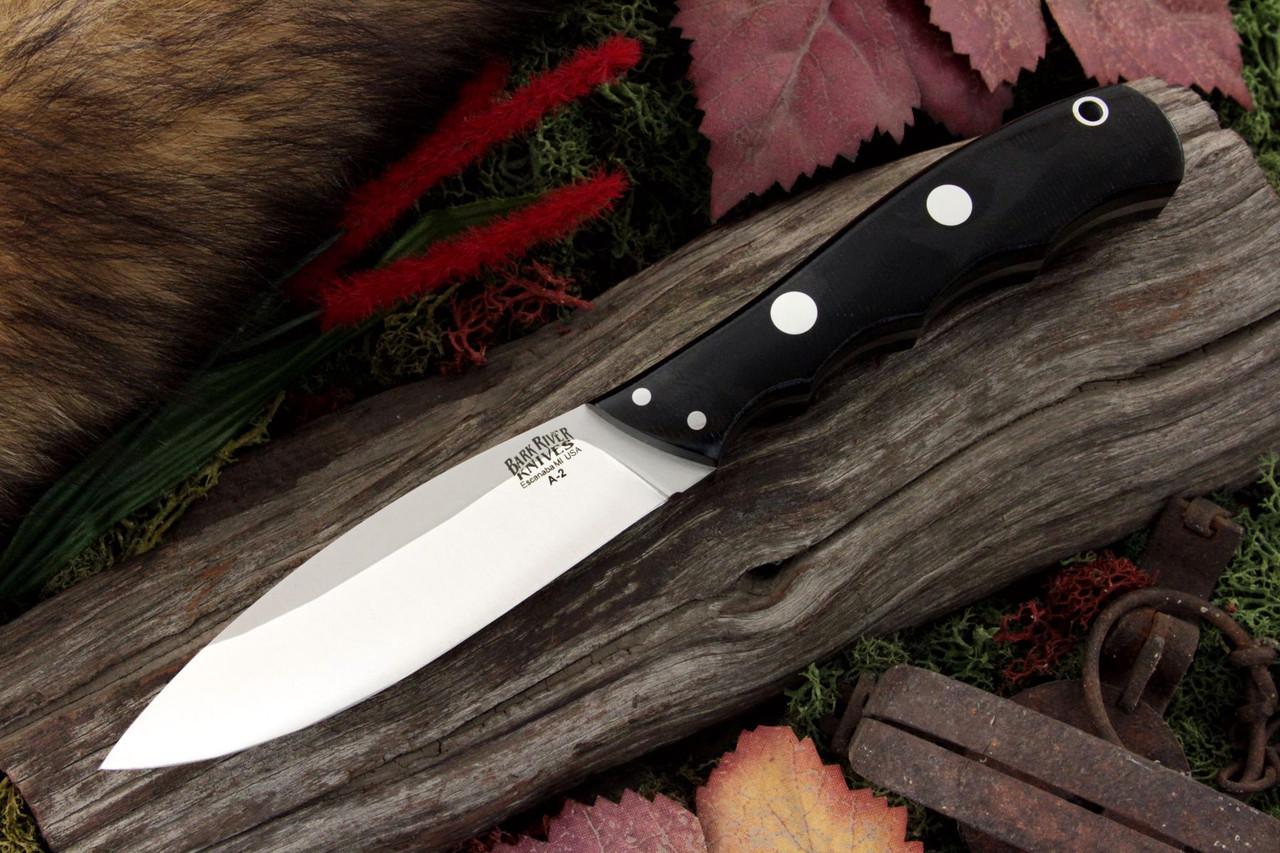 "Bark River 129MBC Canadian Special, 4"" A-2 Plain Blade, Black Canvas Micarta Handle"
