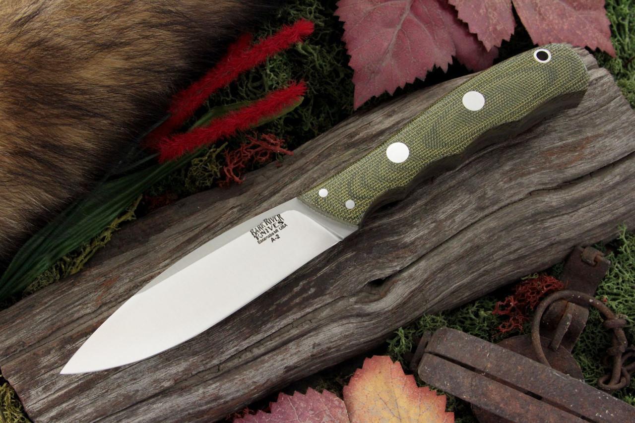 "Bark River 129MGC Canadian Special, 4"" A-2 Plain Blade, Green Canvas Micarta Handle"