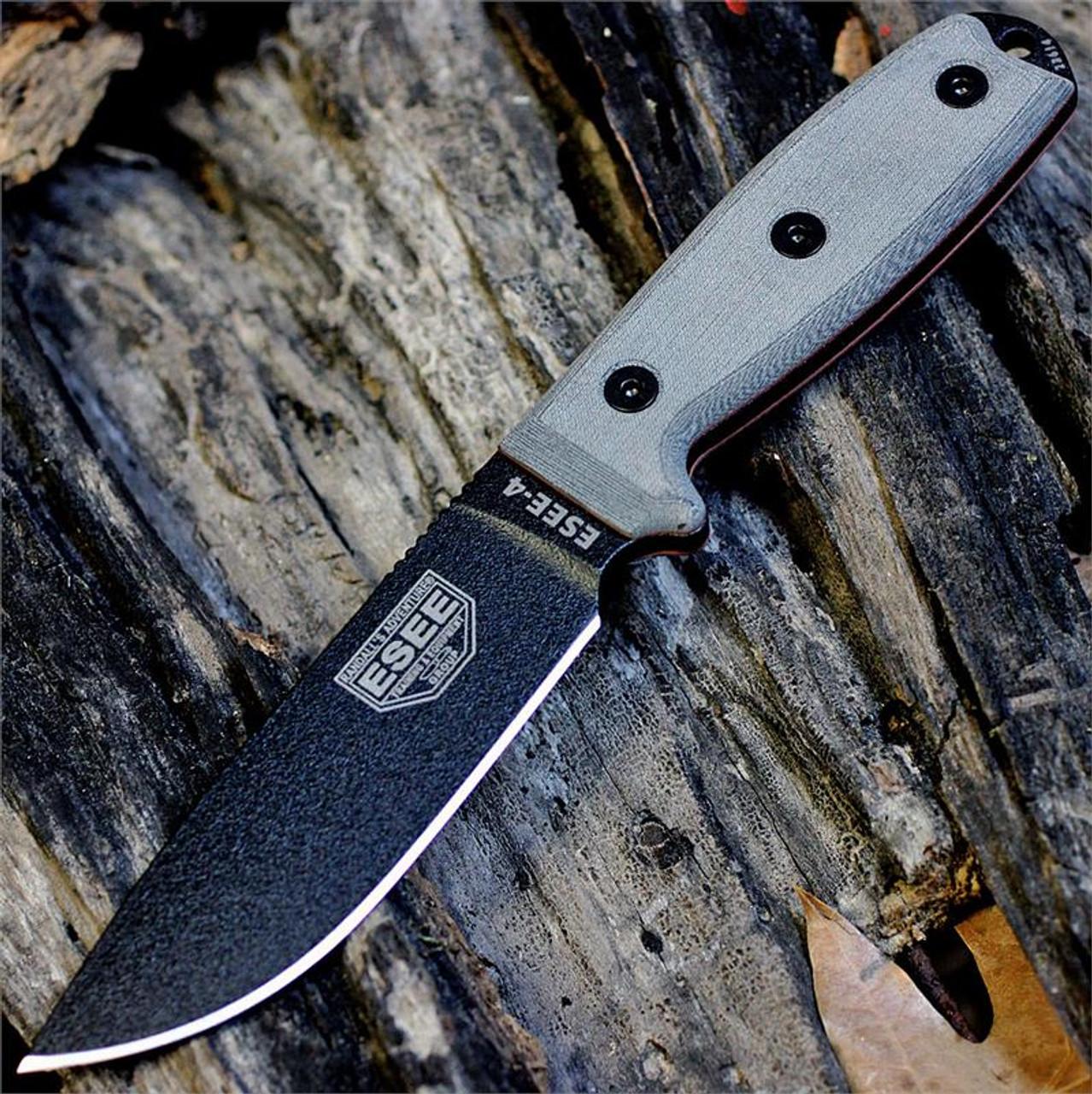 ESEE Knives, 4P-B, Black Blade, Plain Edge, Micarta Handle, Black Molded Sheath and Clip Plate